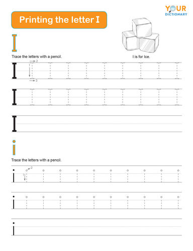tracing the letter i practice worksheet