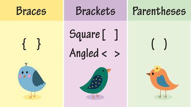 grammar braces, brackets, parentheses