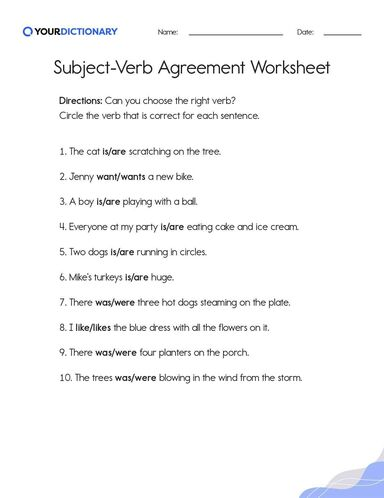 Subject Verb Agreement Worksheet Subject verb agreement is basic part of english grammar. subject verb agreement worksheet