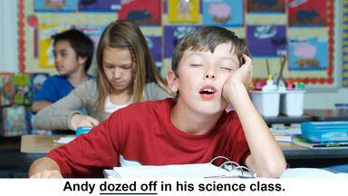 dozed off is phrasal verb example
