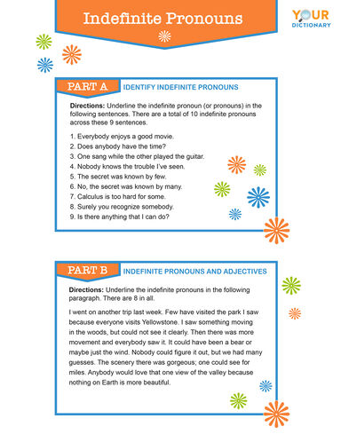 Types Of Pronouns Worksheets