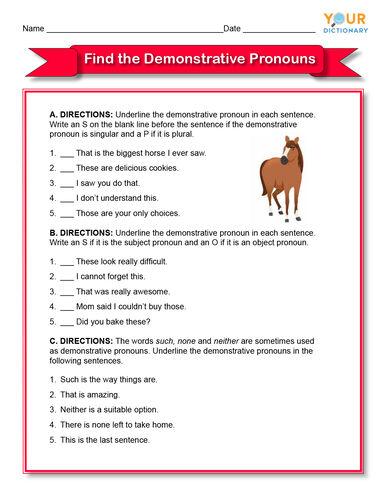 find the demonstrative pronouns worksheet