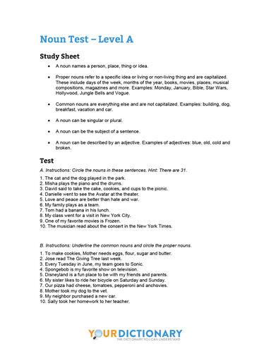 worksheet non quiz level a
