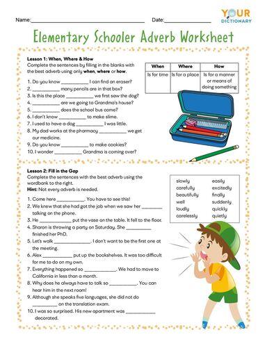 elementary schooler adverb worksheet