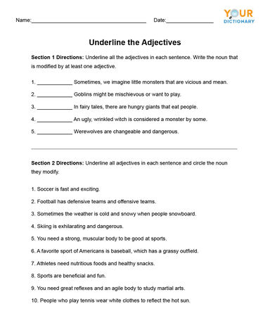 Underline the Adjectives Worksheet