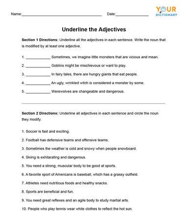 Underline the adjectives worksheet