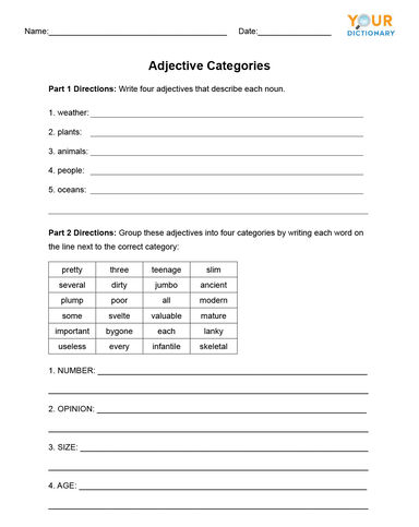 Adjective Categories Worksheet