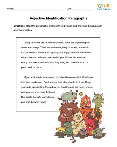 Adjective Identification Paragraphs