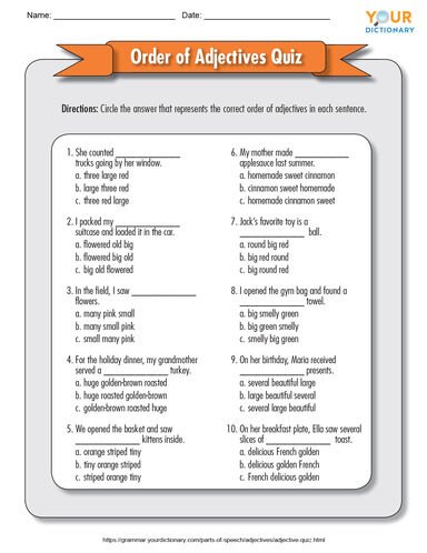 order of adjectives quiz