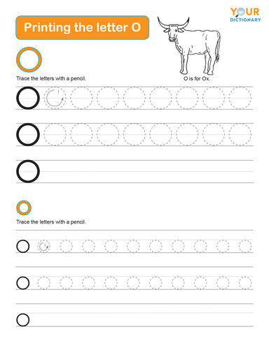 tracing the letter o worksheet