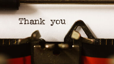 Typing a thank you letter