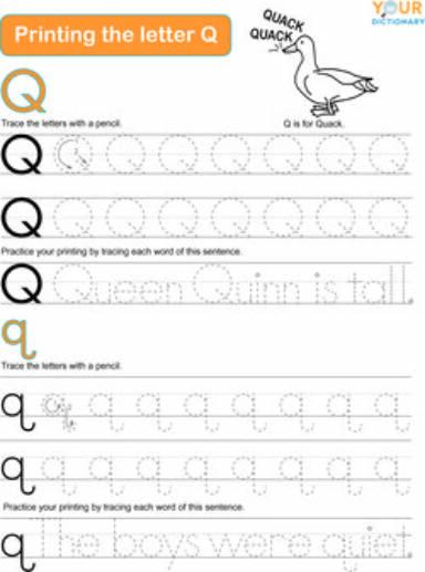 printing the letter Q worksheet