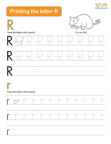 printing the letter R practice worksheet