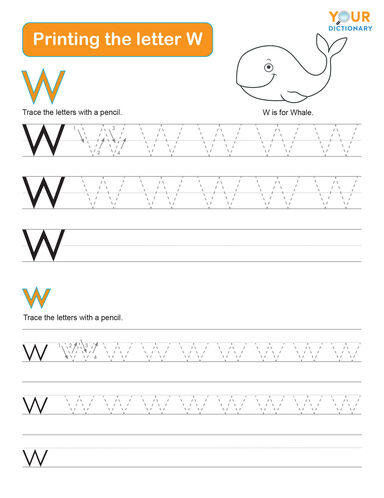 tracing the letter w practice worksheet