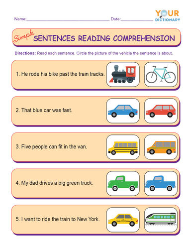 simple sentences reading comprehension