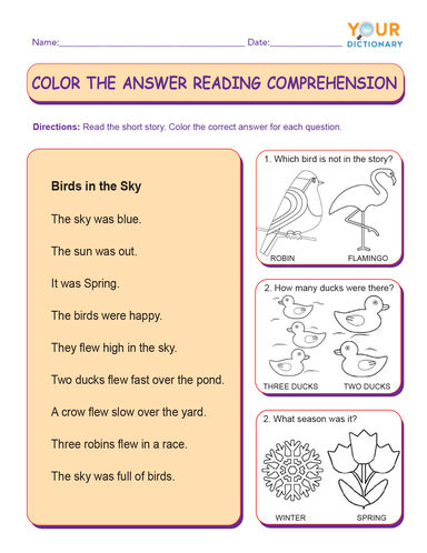 color the answer reading comprehension