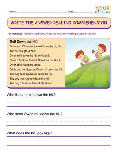 write the answer reading comprehension