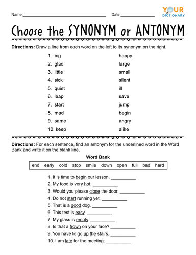 Choose the Synonym or Antonym Worksheet
