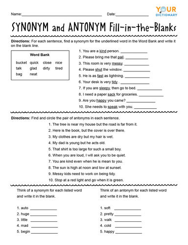 Synonym and Antonym Fill-in-the-Blanks Worksheet
