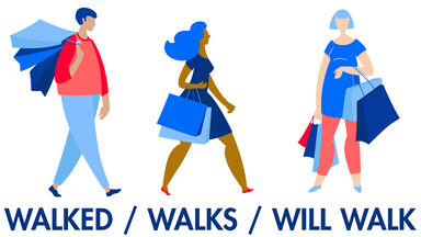 verb tenses of walk example