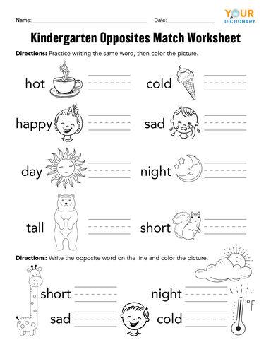 Opposite Words Worksheets For Kindergarten Pdf