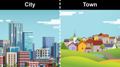 difference between city and town