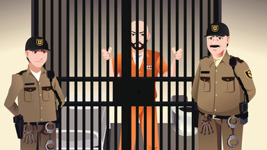 prisoner in jail with guards