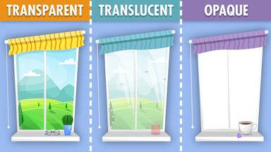 example of transparent vs translucent vs opaque