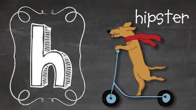 Positive Word H hipster dog