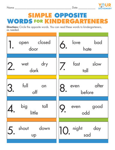 Simple Opposite Words for Kindergarteners