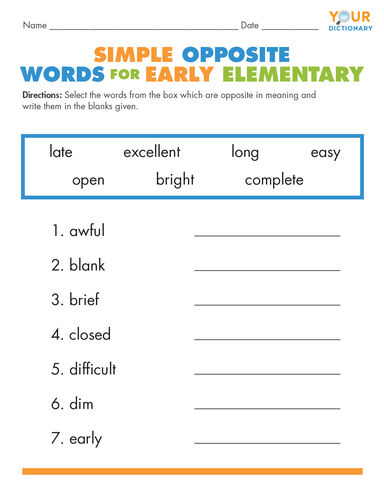 Simple Opposite Words for Early Elementary