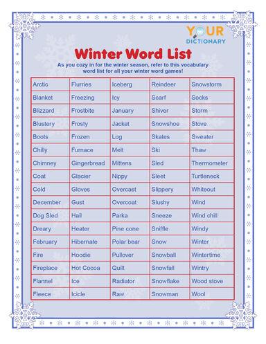 words to describe winter