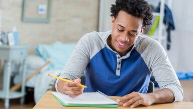Teenager writing narrative essay