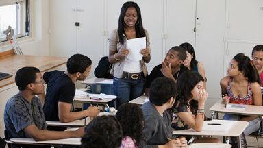 Student giving speech to class