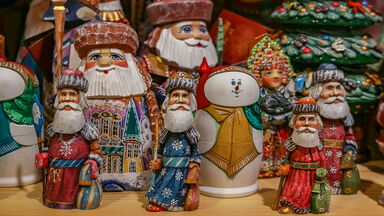 Russian Santa Claus figures called Ded Moroz