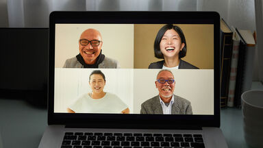computer screen with people's faces