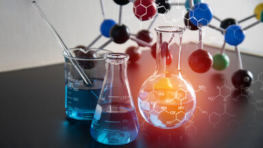 Chemistry beakers and molecular structure