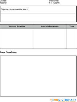 lesson plan sample worksheet