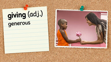 Vocabulary word giving with definition