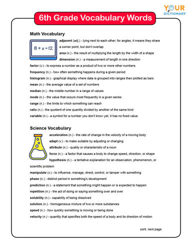 6th Grade Vocabulary Words List