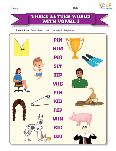 Three letter words with vowel i