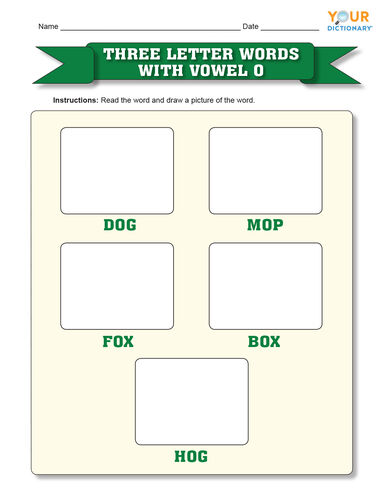 Three letter words with vowel o
