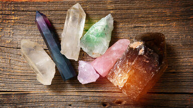 Example of assorted crystals and gemstones