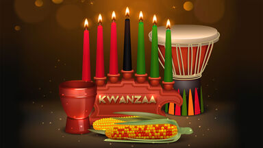 Kwanzaa celebration candles and drum