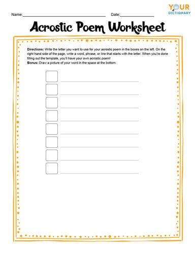 Acrostic Poem Worksheet