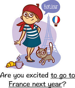 Parisian girl in front of Eiffel Tower as adjective complement example