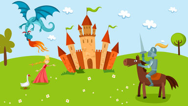 Scene from storybook with a knight, princess, dragon and castle