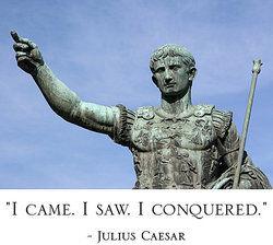 Julius Caesar statue as asyndeton examples