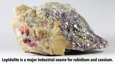 Lepidolite mineral source for rubidium and caesium