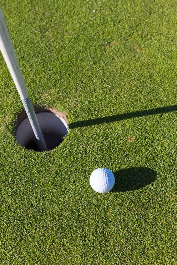 golf ball four inches from hole